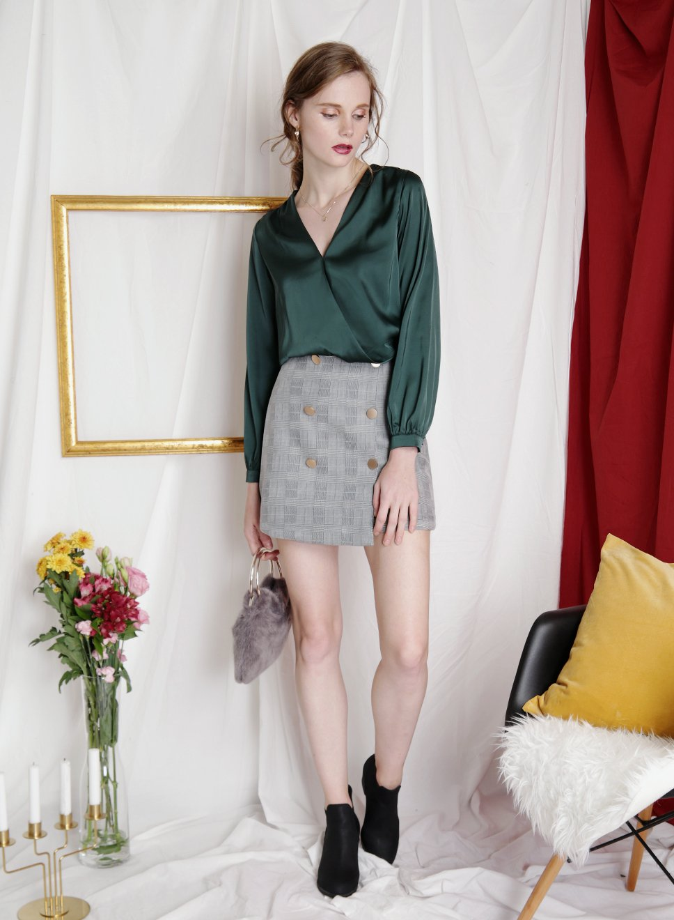 SHIMMER Silk Wrap Top (Forest) - And Well Dressed