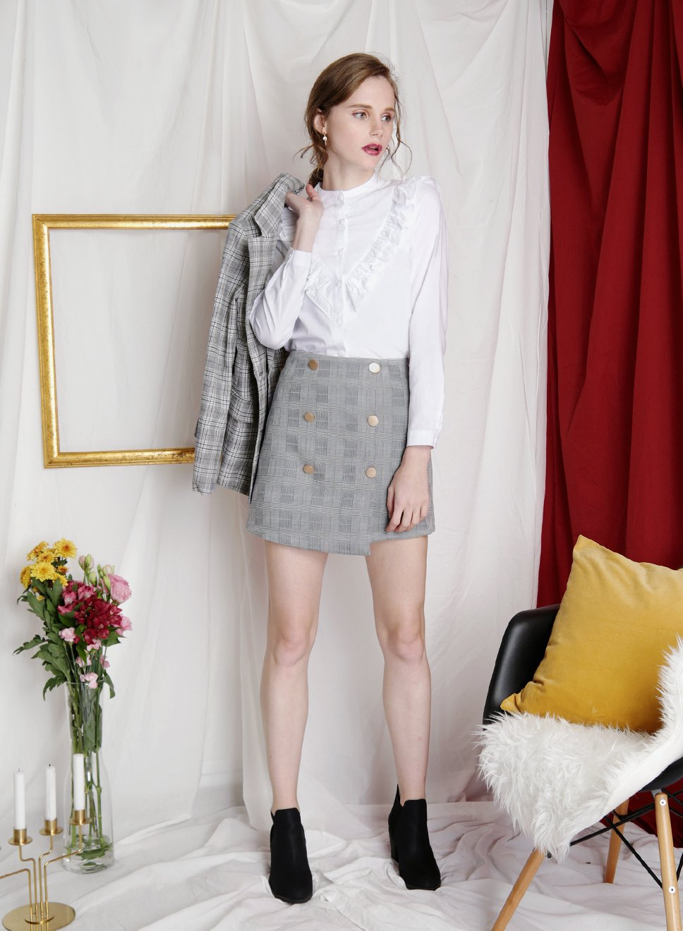 ADORE buttoned suede skirt (Checks) - And Well Dressed