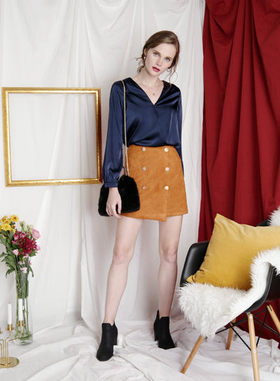 ADORE buttoned suede skirt (Ochre) - And Well Dressed