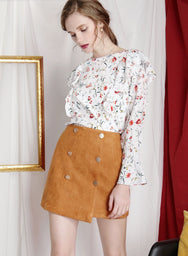 ADORE buttoned suede skirt (Ochre) at $ 34.50 only sold at And Well Dressed Online Fashion Store Singapore