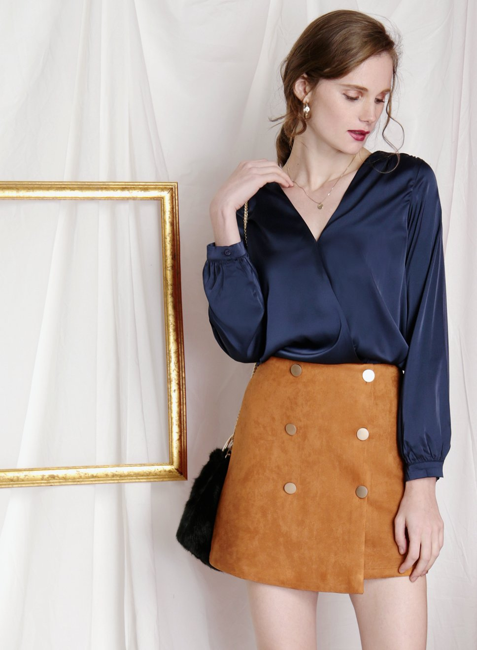 SHIMMER Silk Wrap Top (Navy) - And Well Dressed