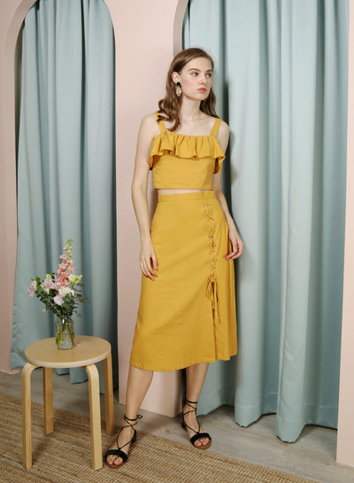 ENTWINE Lace Up Linen Skirt (Honey) at $ 38.00 only sold at And Well Dressed Online Fashion Store Singapore
