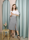 ENTWINE Lace Up Linen Skirt (Checks) at $ 38.00 only sold at And Well Dressed Online Fashion Store Singapore