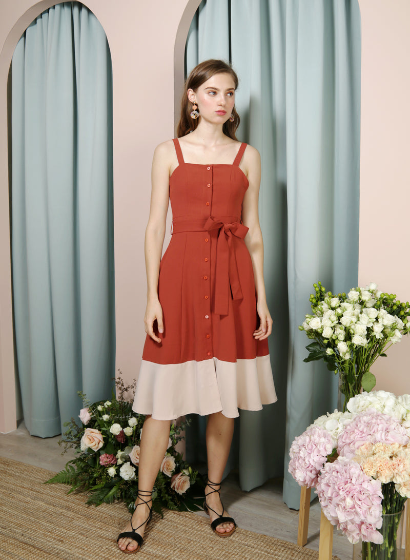 Requiem Duo Tone Button Down Dress (Rust/Sand) - And Well Dressed