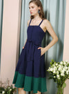 Requiem Duo Tone Button Down Dress (Navy/Forest) at $ 43.50 only sold at And Well Dressed Online Fashion Store Singapore