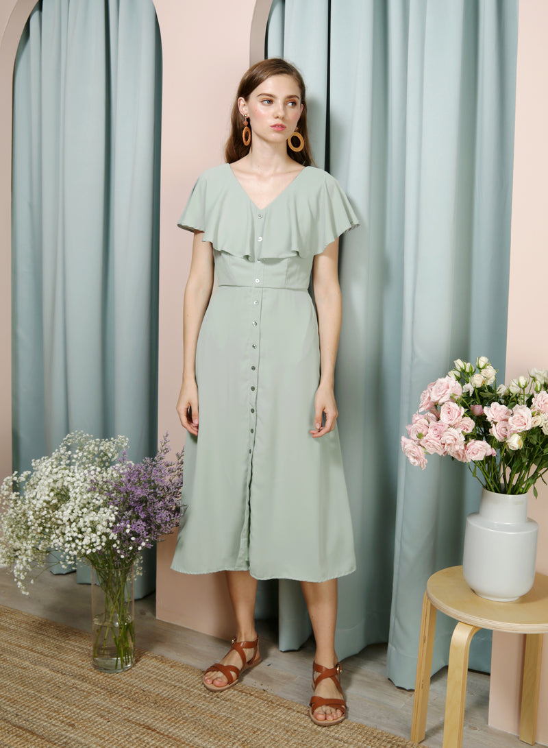 WAVER Flutter Top Shell Buttons Dress (Sage) at $ 45.00 only sold at And Well Dressed Online Fashion Store Singapore