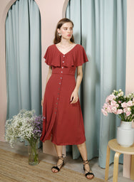 WAVER Flutter Top Shell Buttons Dress (Rust) - And Well Dressed