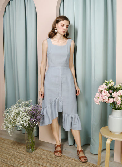 Serenity Asymmetric Ruffle Hem Dress (Dusk Blue) at $ 44.50 only sold at And Well Dressed Online Fashion Store Singapore