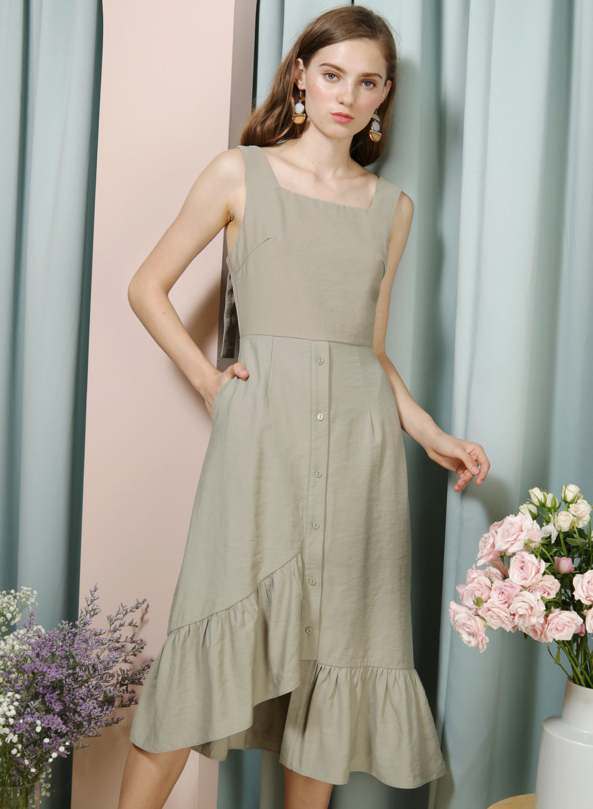 Serenity Asymmetric Ruffle Hem Dress (Moss) - And Well Dressed
