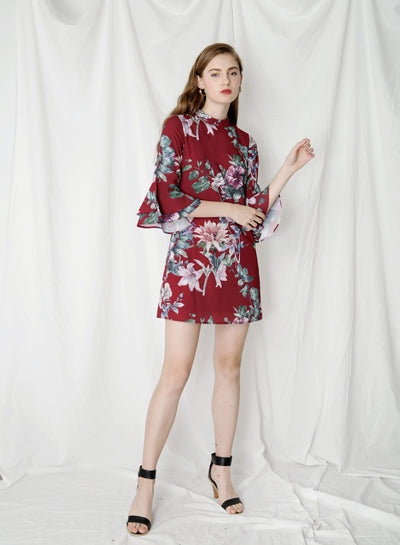 Moonlight Ruffle Sleeves Floral Dress (Wine) - And Well Dressed