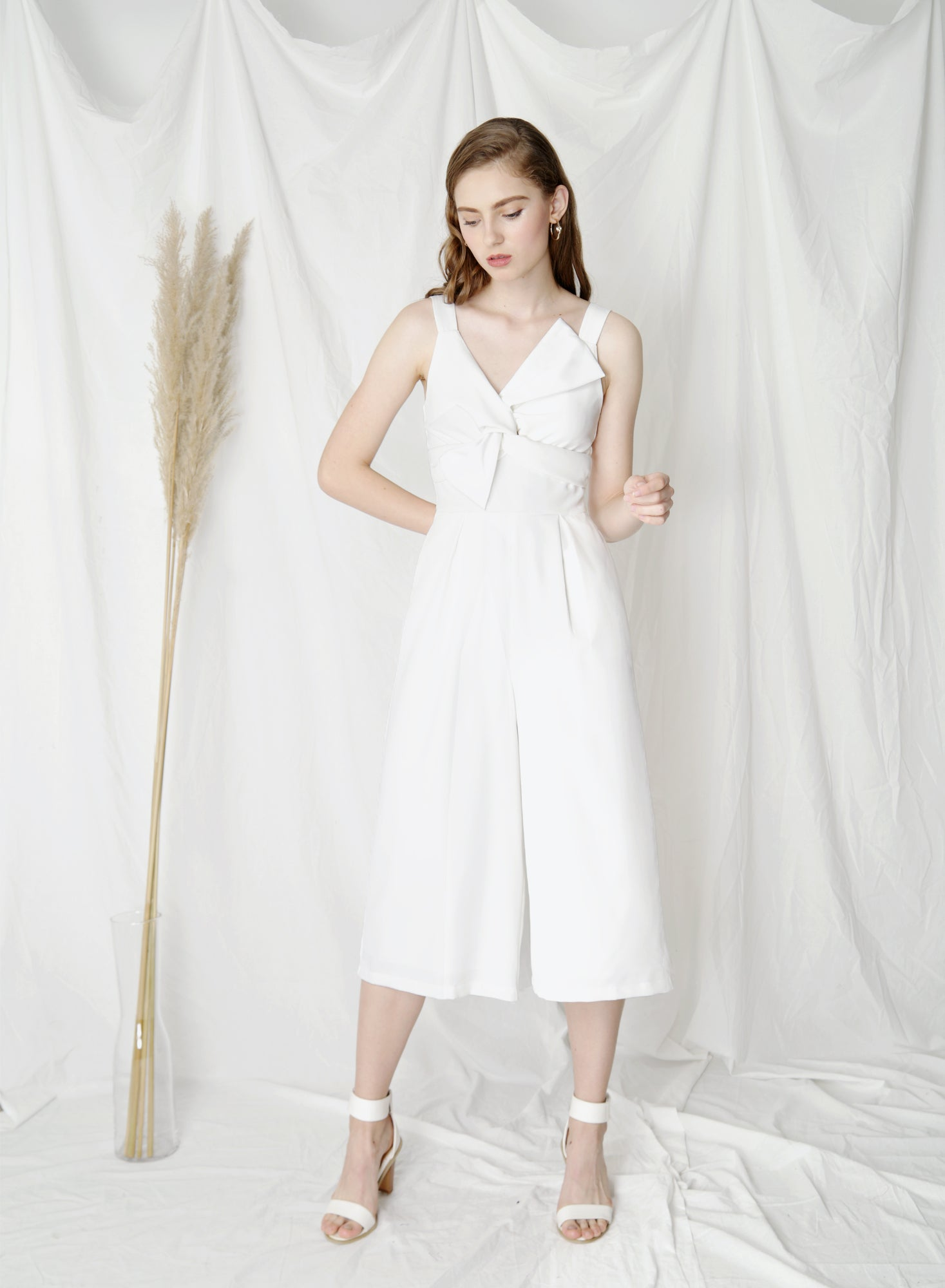 Delight Bow Front Jumpsuit (White)