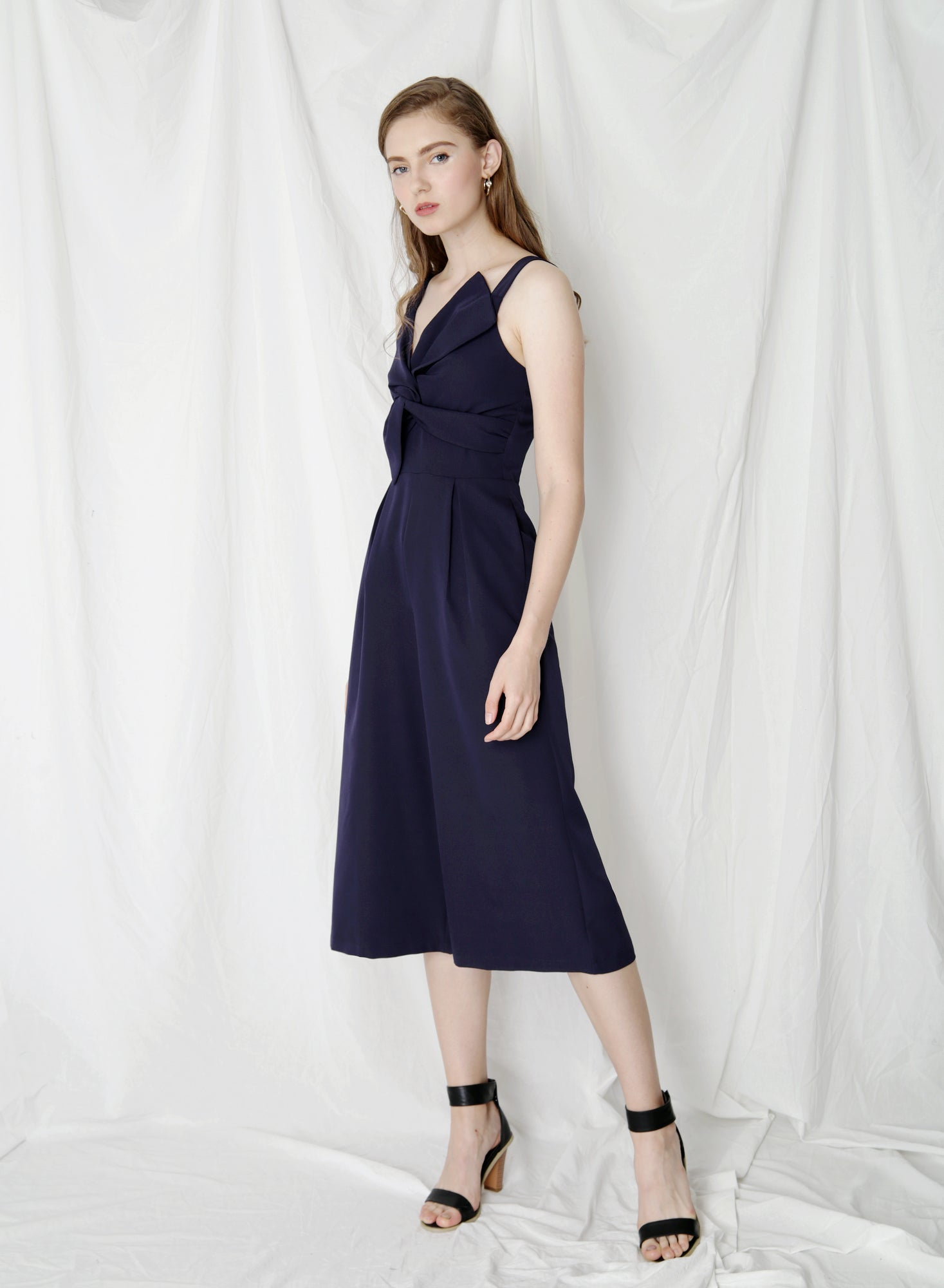 Delight Bow Front Jumpsuit (Navy)