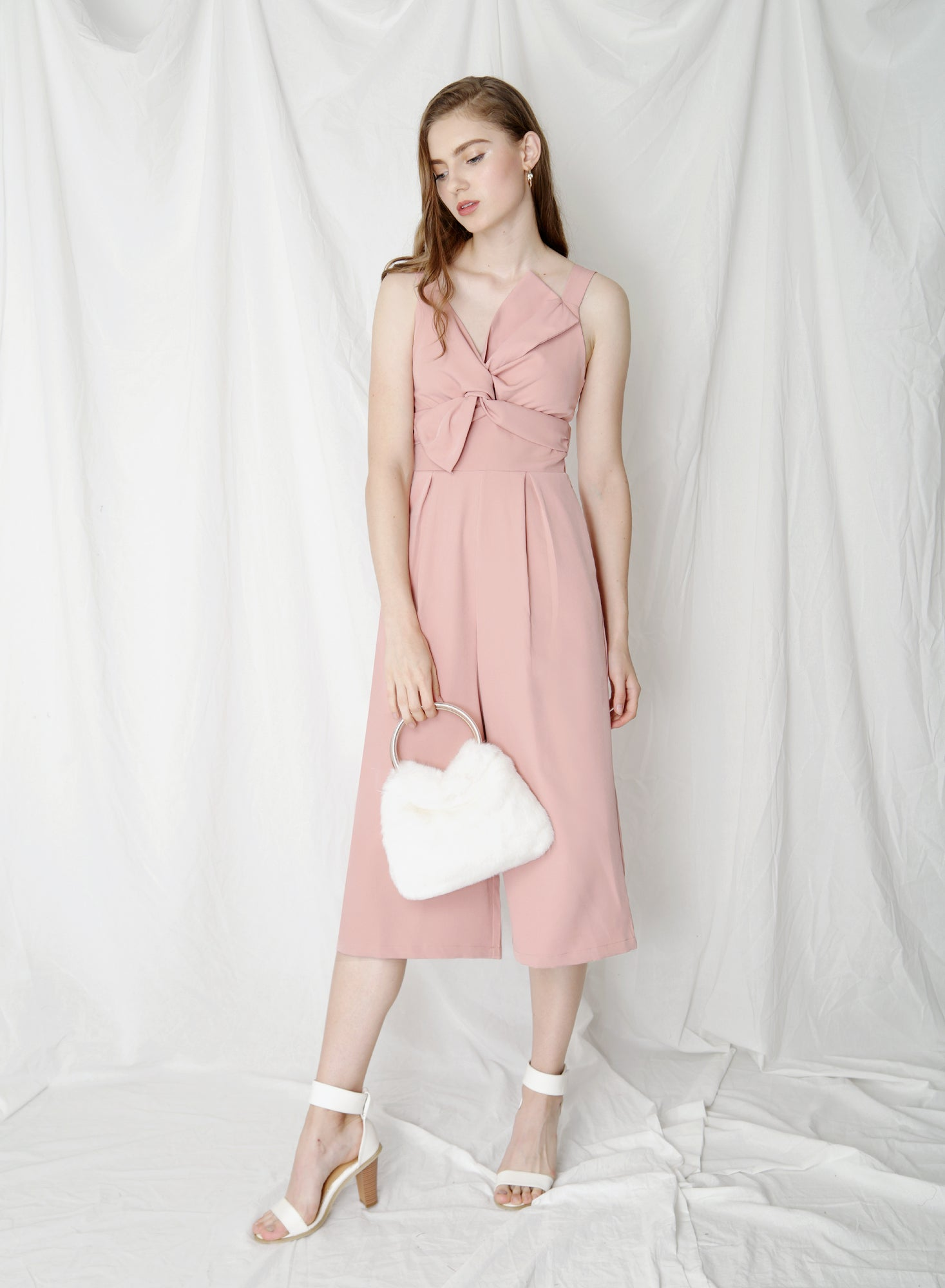 Delight Bow Front Jumpsuit (Rose)