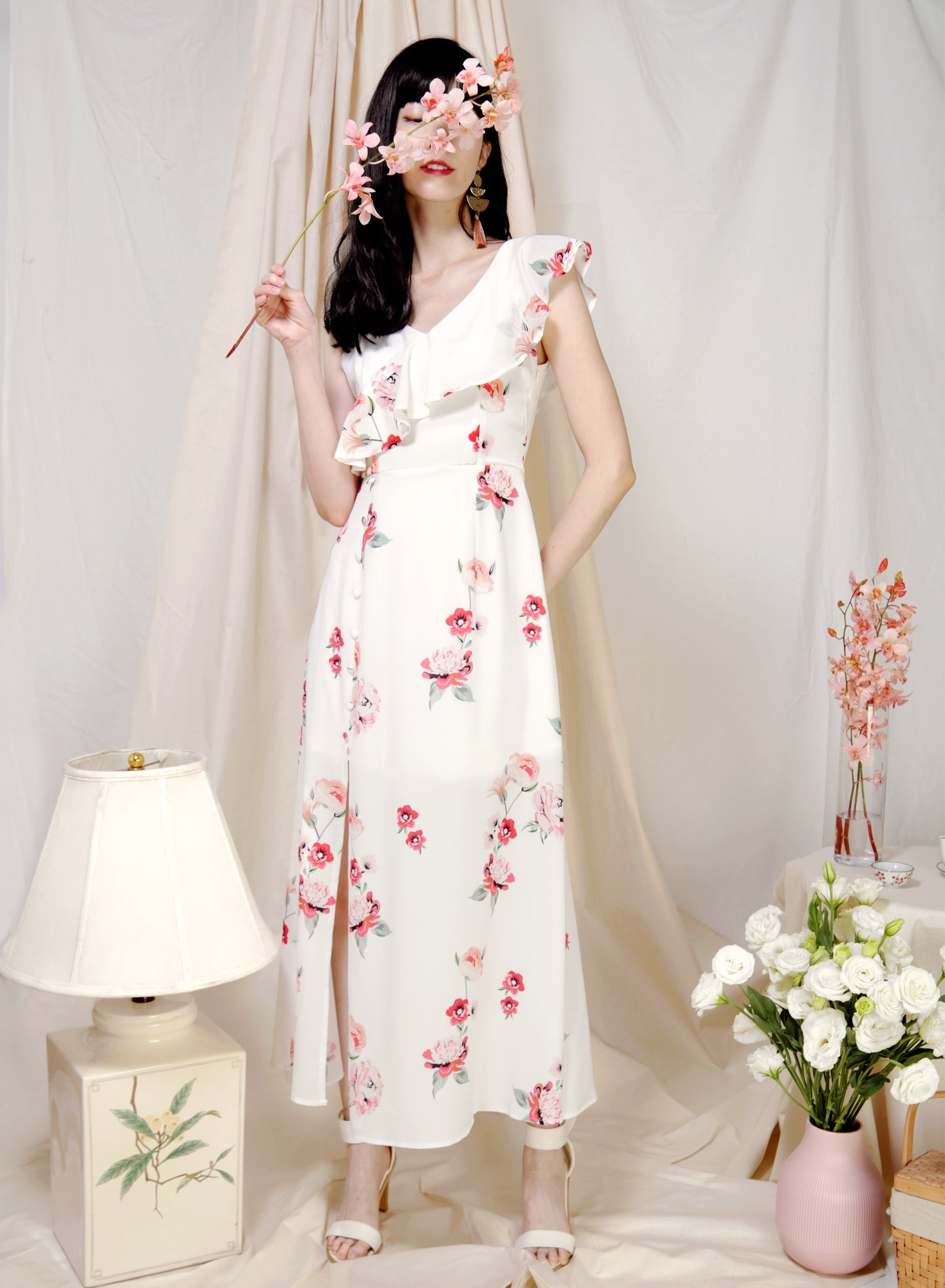 Poetry Asymmetric Ruffle Floral Dress (White) at $ 45.00 only sold at And Well Dressed Online Fashion Store Singapore