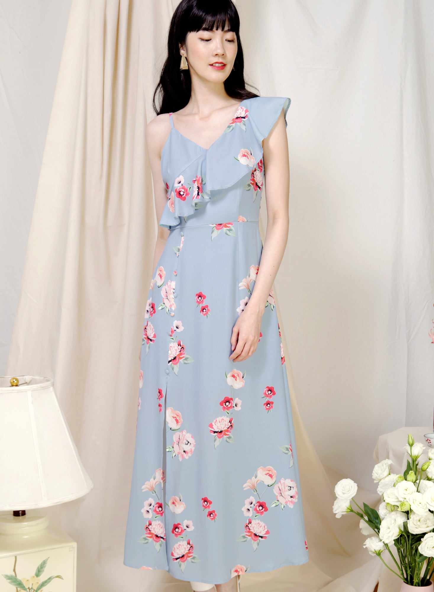 Poetry Asymmetric Ruffle Floral Dress (Dusk Blue) at $ 45.00 only sold at And Well Dressed Online Fashion Store Singapore