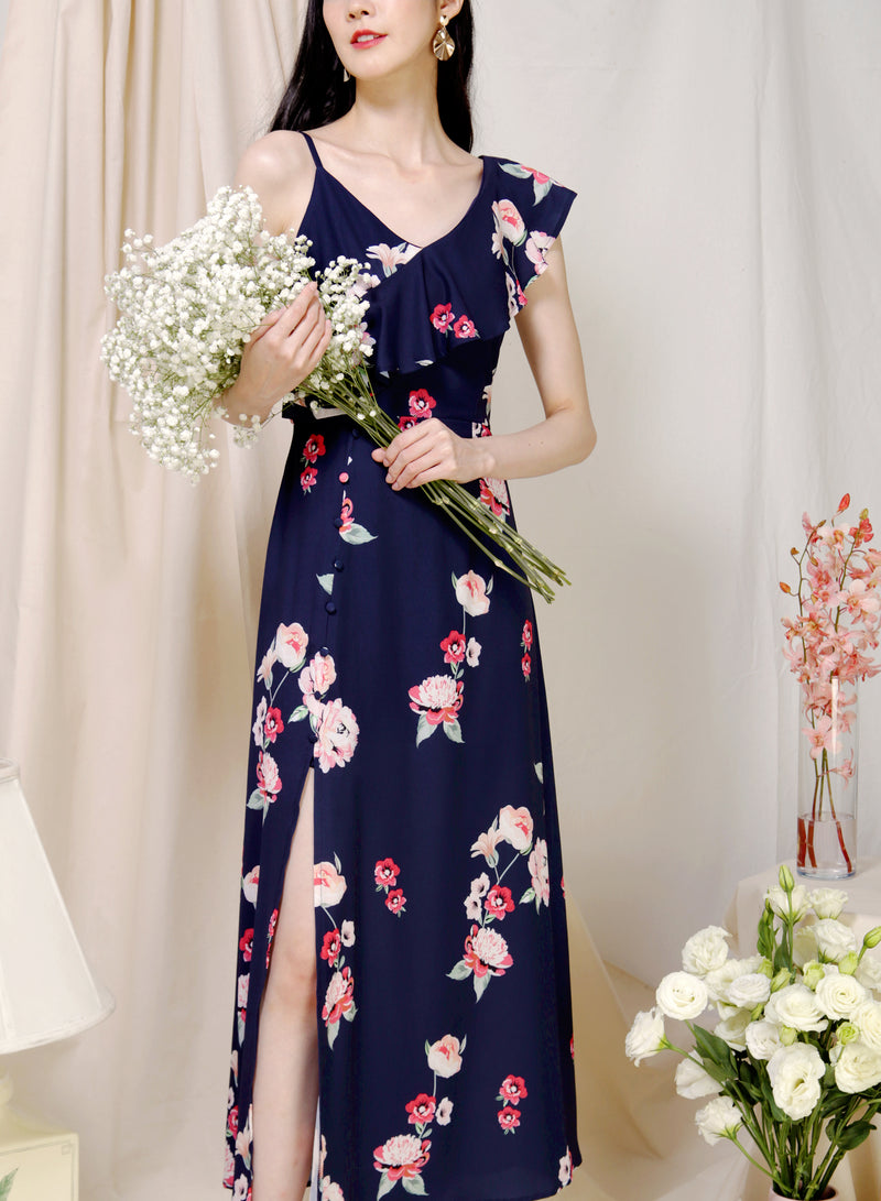 Poetry Asymmetric Ruffle Floral Dress (Navy) at $ 45.00 only sold at And Well Dressed Online Fashion Store Singapore