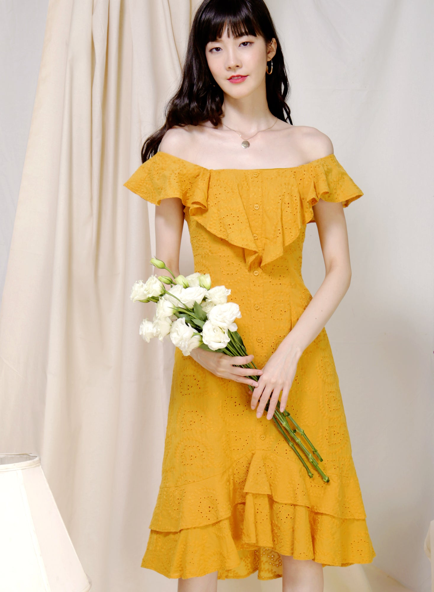 Sojourn Two Way Eyelet Dress (Marigold) at $ 45.00 only sold at And Well Dressed Online Fashion Store Singapore