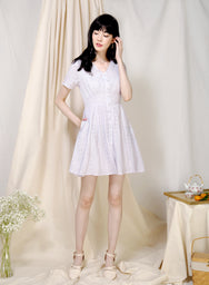 Mirth Broderie Flared Dress (Lilac) at $ 42.50 only sold at And Well Dressed Online Fashion Store Singapore