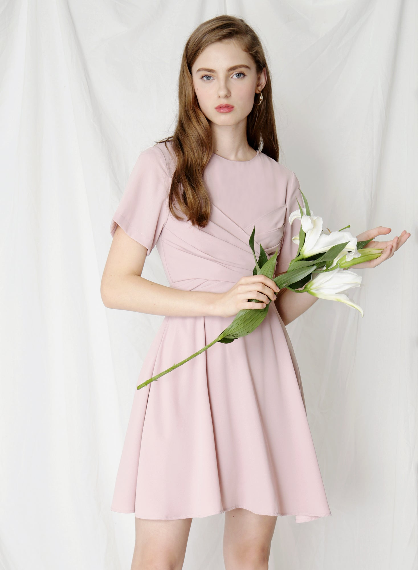 Tribute Tie Front Flare Dress (Mauve) at $ 41.50 only sold at And Well Dressed Online Fashion Store Singapore