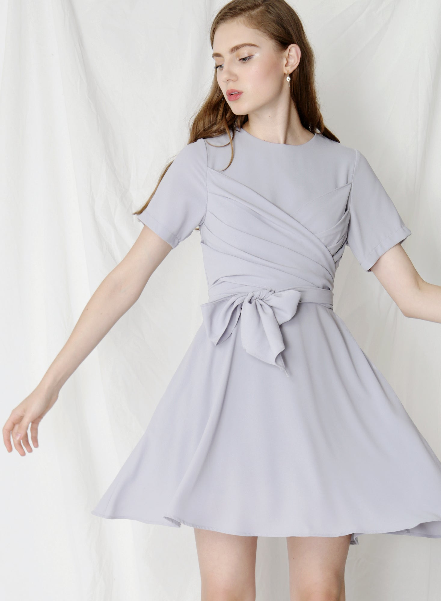 Tribute Tie Front Flare Dress (Lilac Grey)