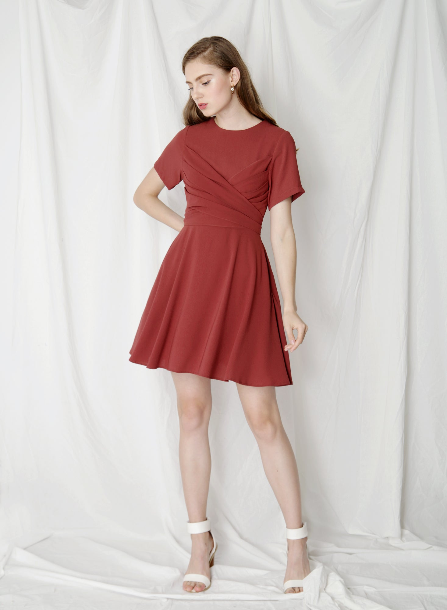 Tribute Tie Front Flare Dress (Brick)