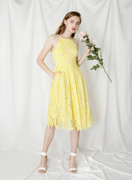 Fantasy Eyelash Lace Dress (Lemon) at $ 45.00 only sold at And Well Dressed Online Fashion Store Singapore