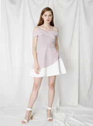 Elation Duo Tone Flared Dress (Lilac/White) at $43.50 only sold at And Well Dressed Online Fashion Store Singapore