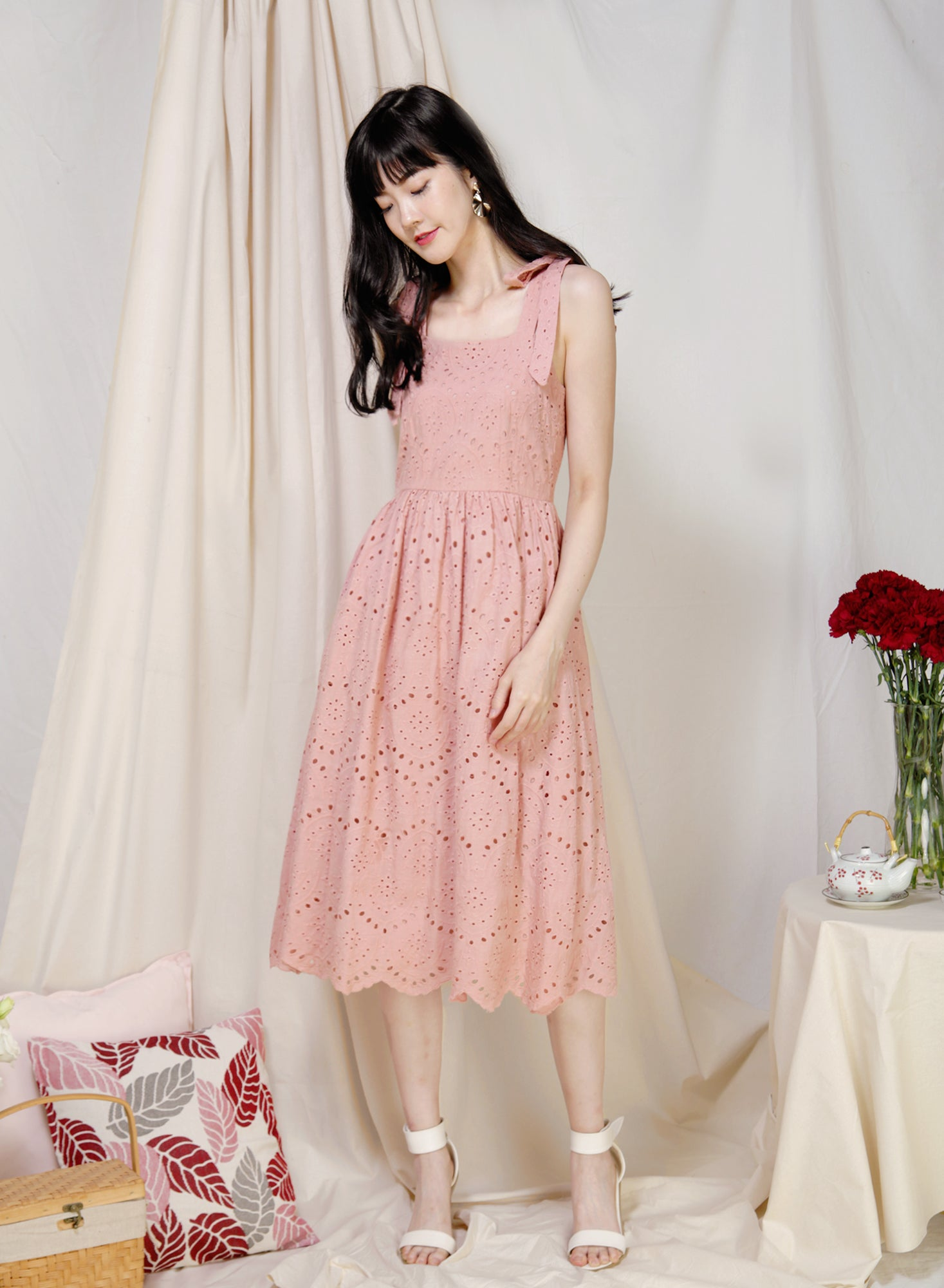Aboard Tie Straps Eyelet Dress (Blush) at $ 46.50 only sold at And Well Dressed Online Fashion Store Singapore