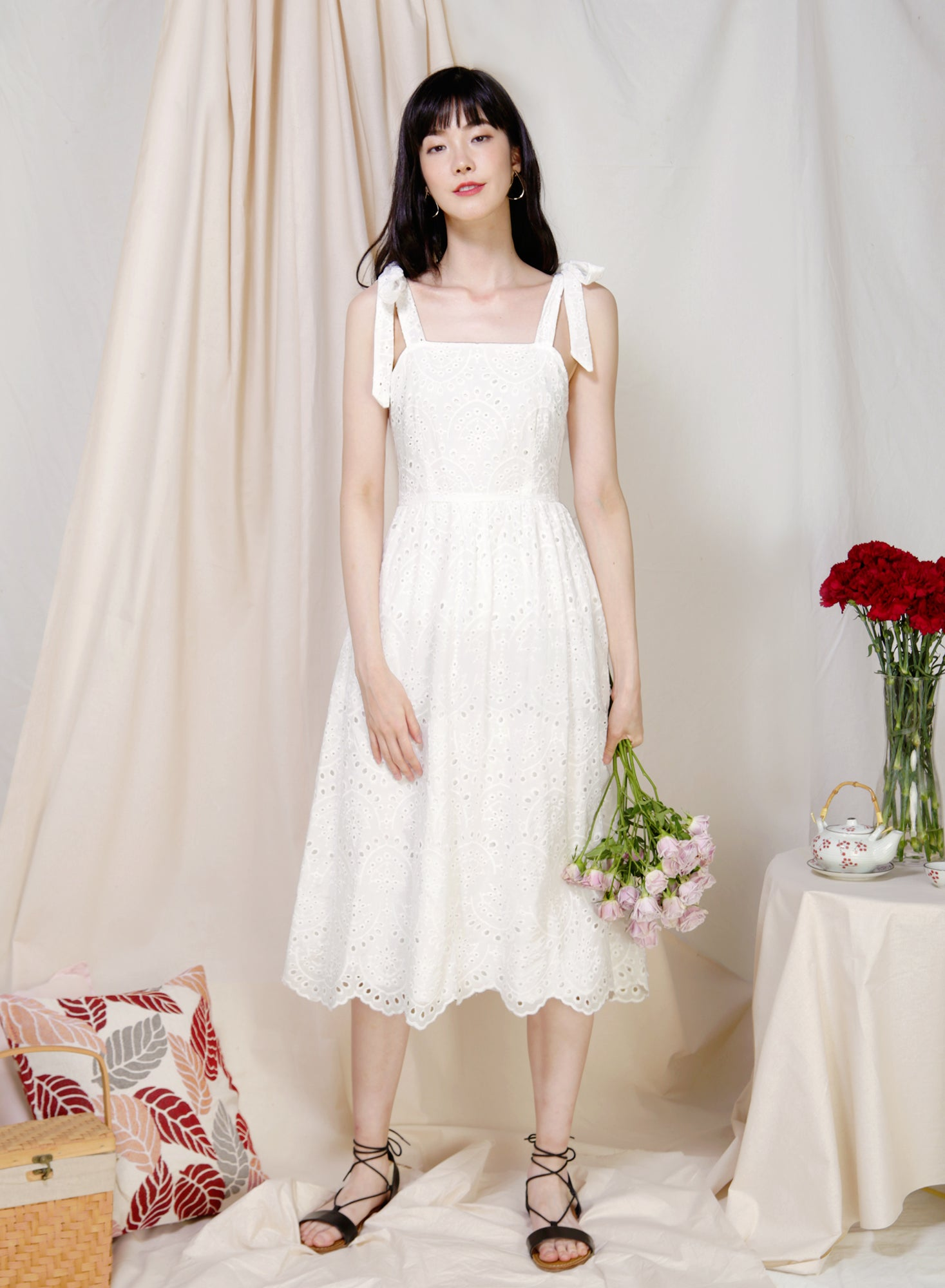 Aboard Tie Straps Eyelet Dress (White) at $ 46.50 only sold at And Well Dressed Online Fashion Store Singapore