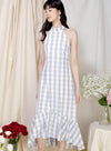 Overture High Neck Ruffle Dress (Sky Gingham) at $ 45.00 only sold at And Well Dressed Online Fashion Store Singapore