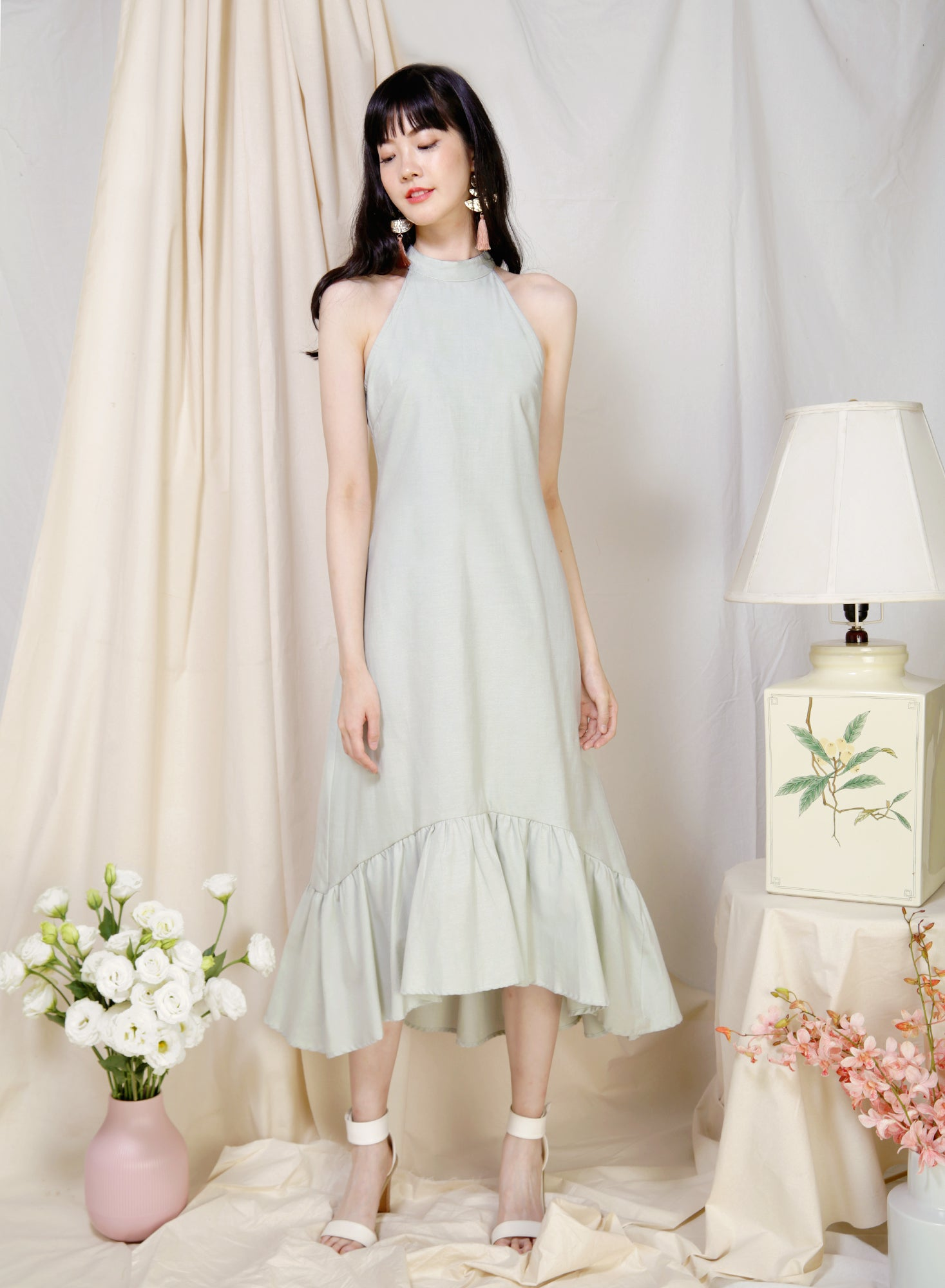 Overture High Neck Ruffle Dress (Jade)