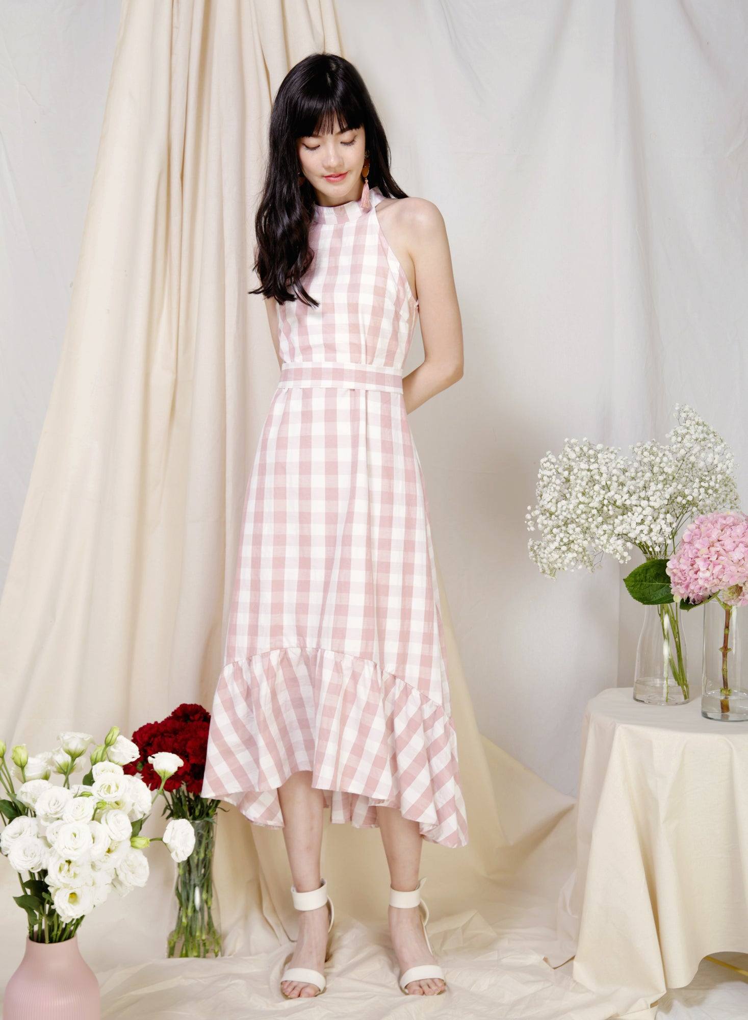 Overture High Neck Ruffle Dress (Pink Gingham) at $ 45.00 only sold at And Well Dressed Online Fashion Store Singapore