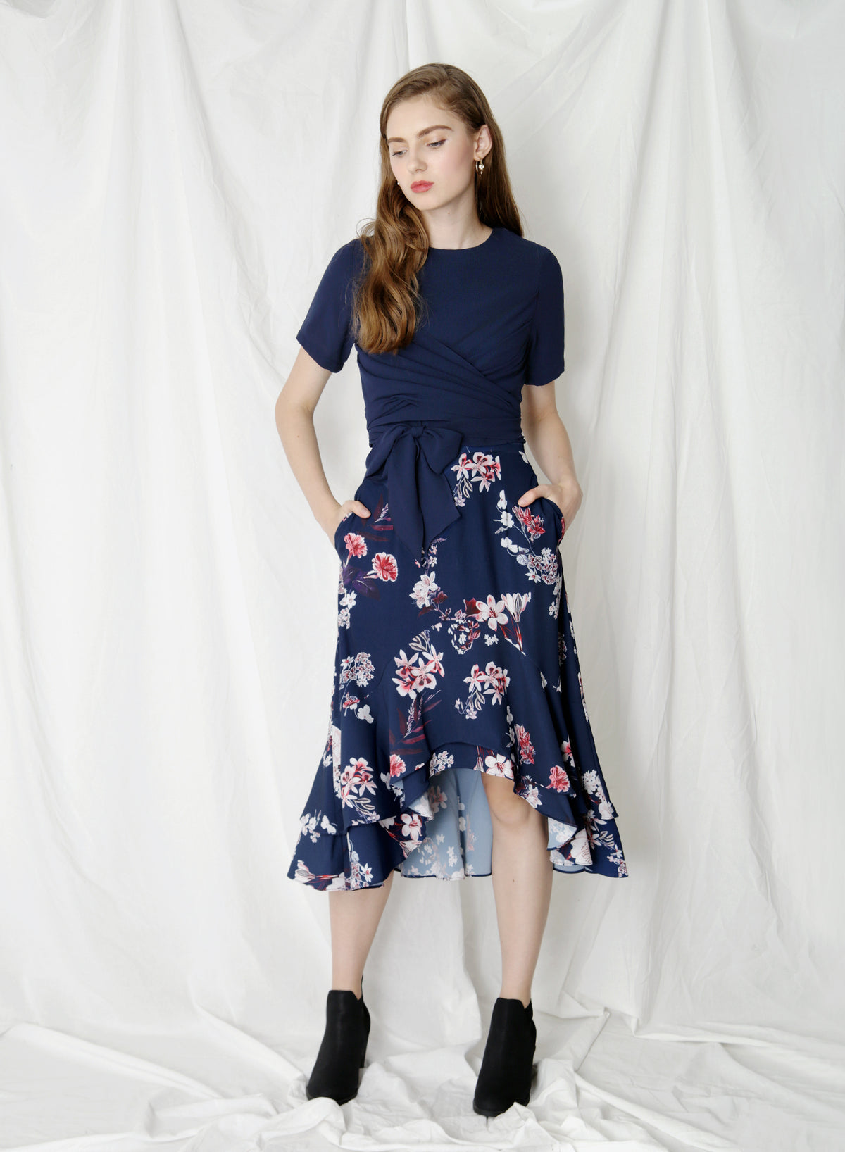Eden Double Tier Floral Skirt (Navy) at $ 38.00 only sold at And Well Dressed Online Fashion Store Singapore