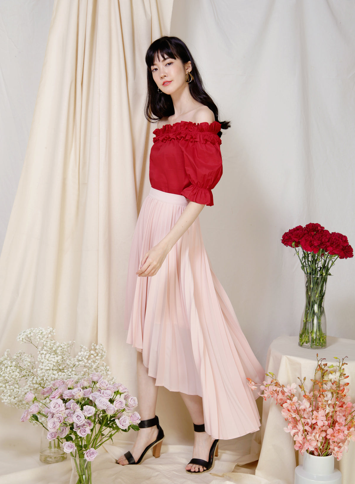 Afloat Off Shoulder Frill Top (Cherry) - And Well Dressed