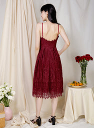 Splendour Lace Midi Dress (Wine) - And Well Dressed