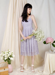 Splendour Lace Midi Dress (Periwinkle) at $ 48.00 only sold at And Well Dressed Online Fashion Store Singapore