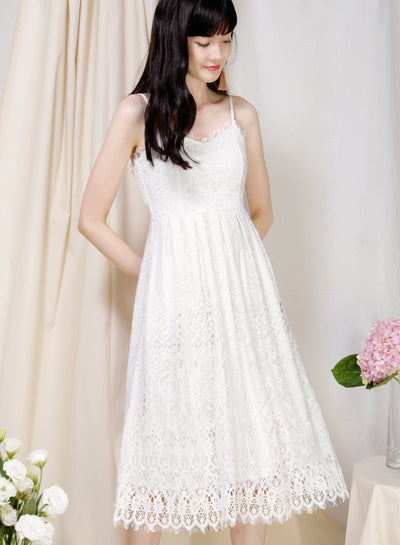 Splendour Lace Midi Dress (White) - And Well Dressed