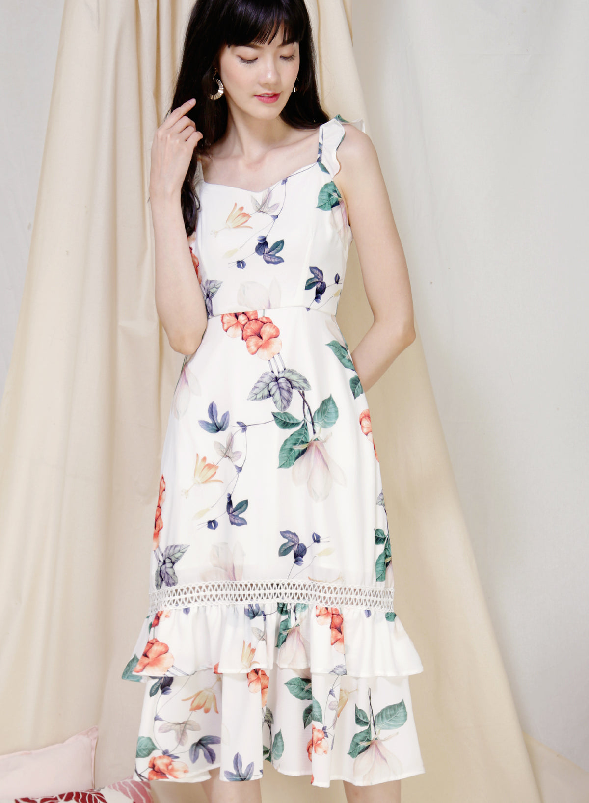 Entice Double Hem Floral Dress (White) at $ 46.00 only sold at And Well Dressed Online Fashion Store Singapore