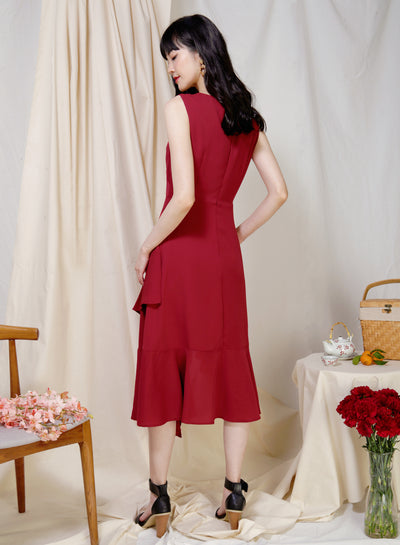 Favour Asymmetric Hem Dress (Cherry) at $ 43.50 only sold at And Well Dressed Online Fashion Store Singapore