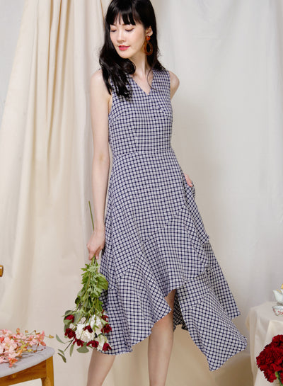 Favour Asymmetric Hem Dress (Gingham) at $ 43.50 only sold at And Well Dressed Online Fashion Store Singapore