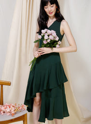 Favour Asymmetric Hem Dress (Forest) - And Well Dressed