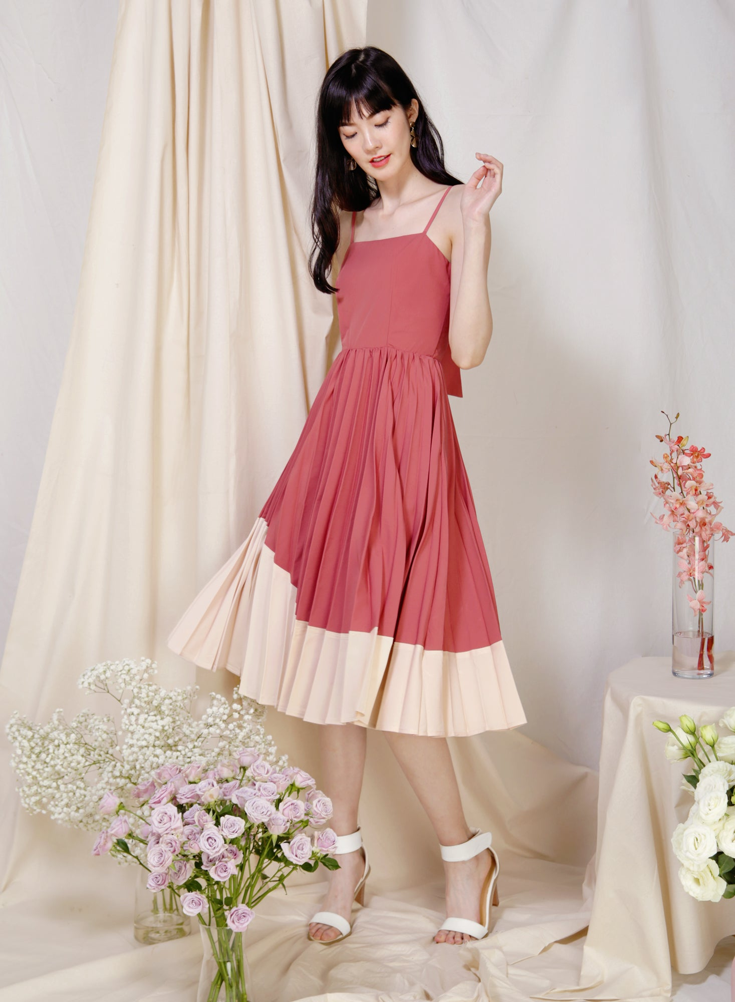Eternity Tie Back Pleated Dress (Rose/Sand) at $ 33.50 only sold at And Well Dressed Online Fashion Store Singapore