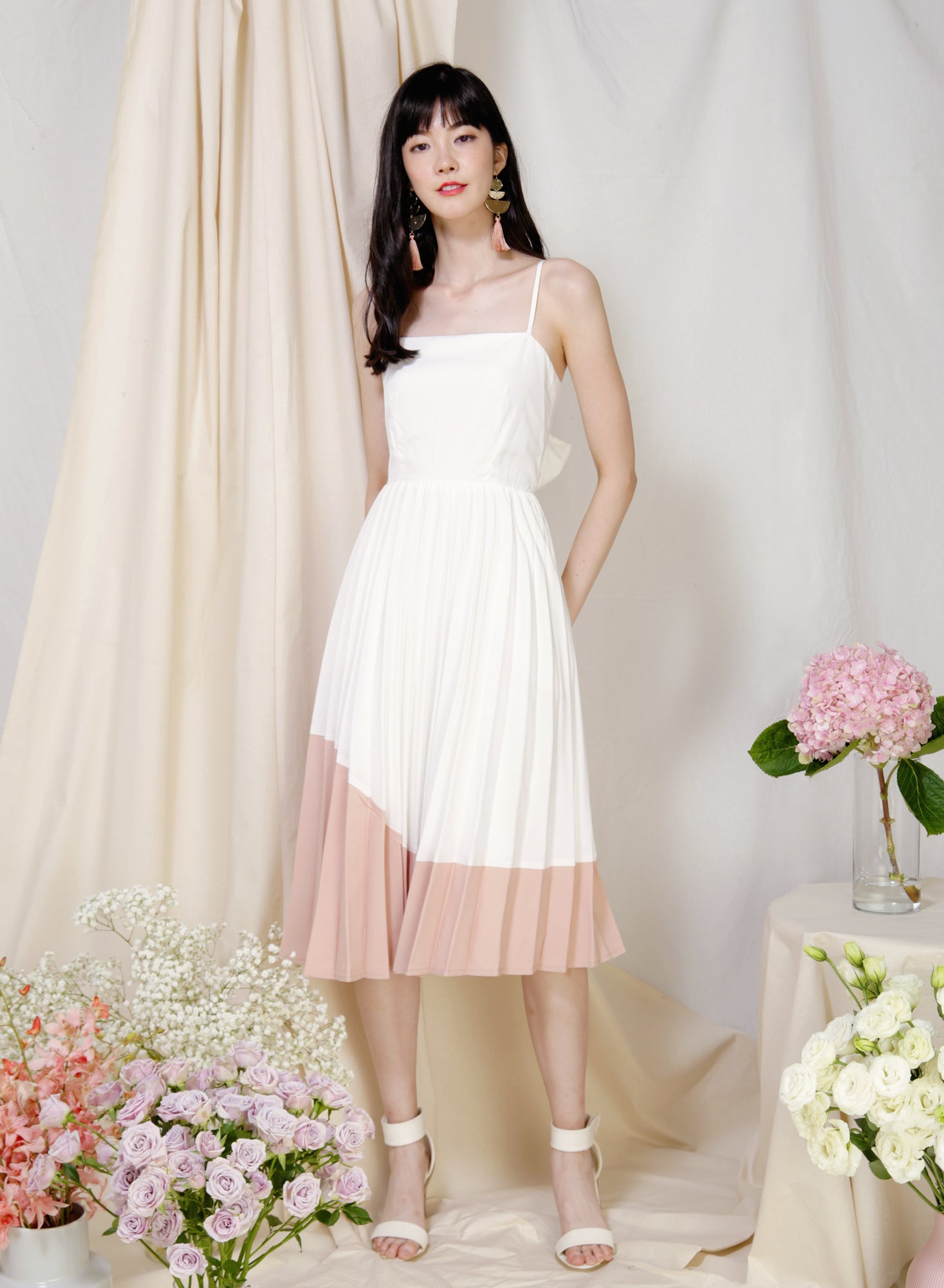 Eternity Tie Back Pleated Dress (White/Blush) - And Well Dressed