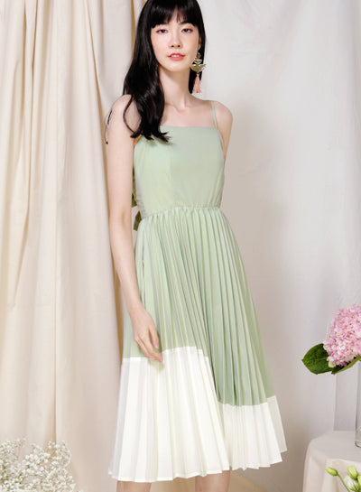 Eternity Tie Back Pleated Dress (Melon/White) at $ 45.00 only sold at And Well Dressed Online Fashion Store Singapore