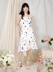 Vivid Frill Ruffle Hem Dress (White Terrazzo) at $ 43.50 only sold at And Well Dressed Online Fashion Store Singapore