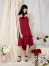 Vivid Frill Ruffle Hem Dress (Wine) - And Well Dressed