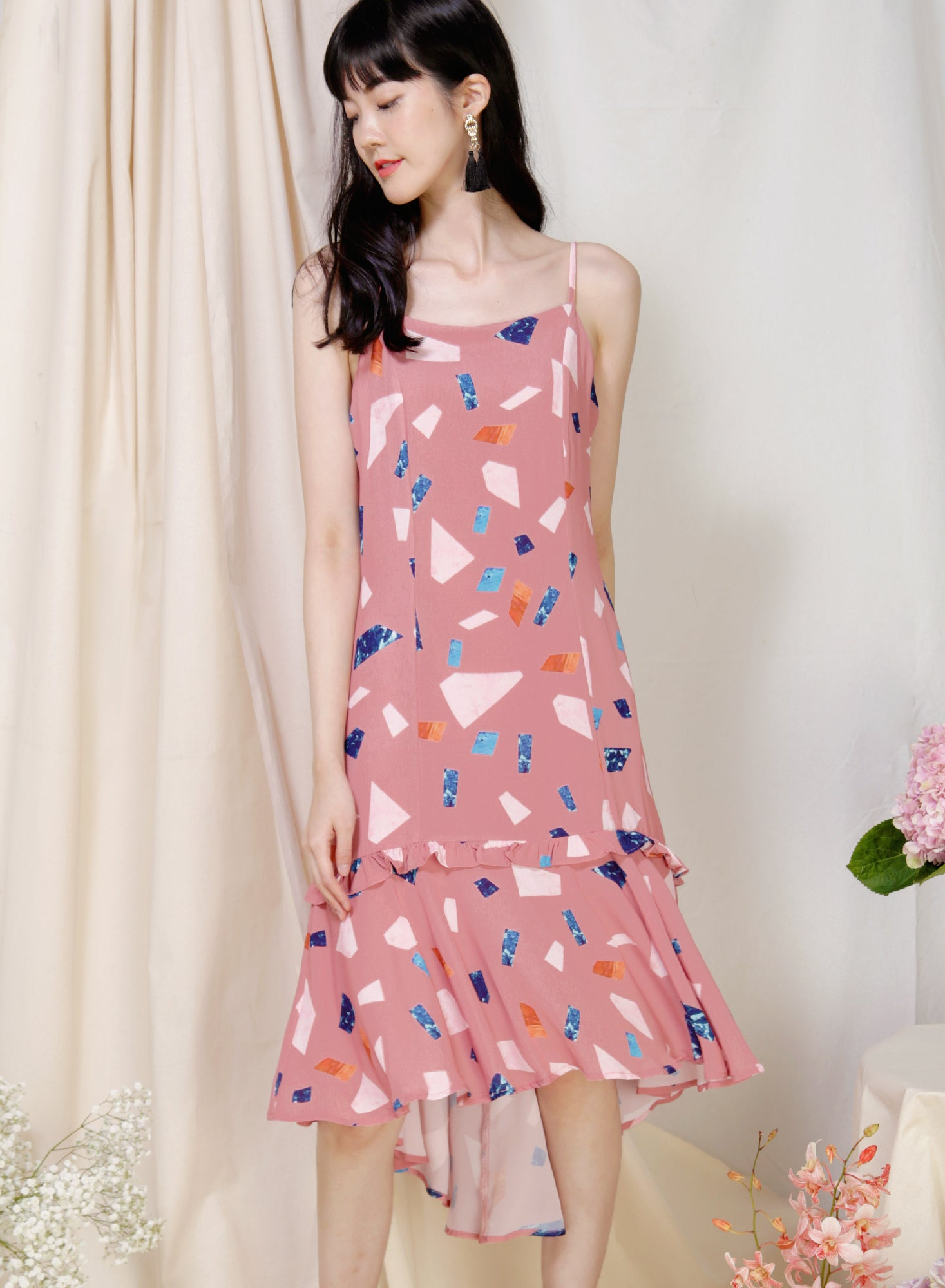 Vivid Frill Ruffle Hem Dress (Rose Terrazzo) at $ 30.50 only sold at And Well Dressed Online Fashion Store Singapore