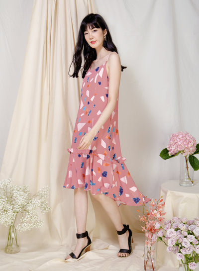 Vivid Frill Ruffle Hem Dress (Rose Terrazzo) at $ 43.50 only sold at And Well Dressed Online Fashion Store Singapore