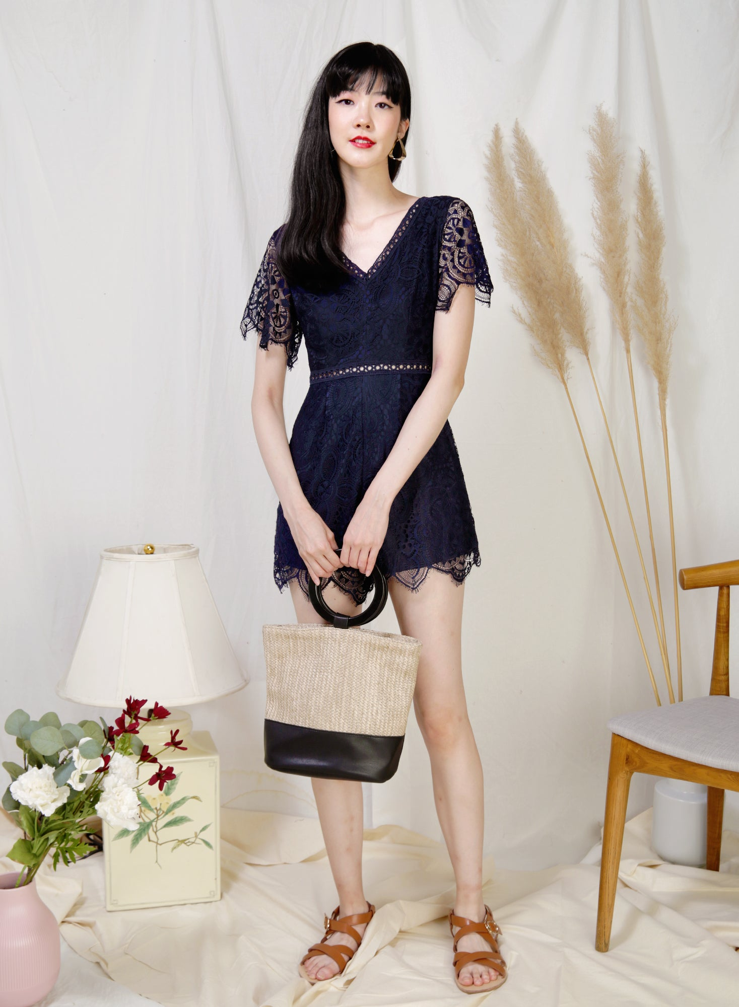 Mystic Eyelash Lace Hem Romper (Navy) - And Well Dressed