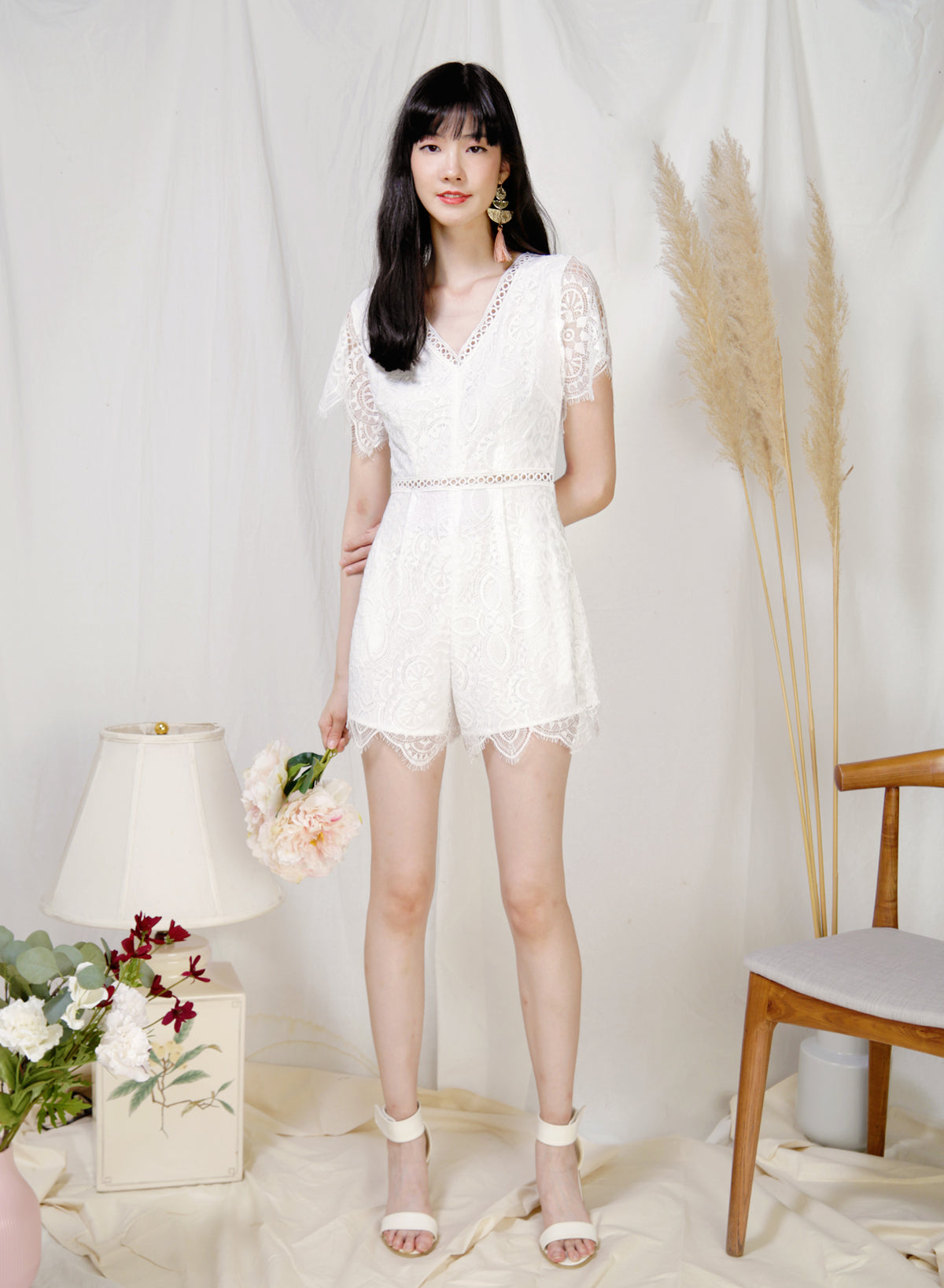 Mystic Eyelash Lace Hem Romper (White) at $ 44.50 only sold at And Well Dressed Online Fashion Store Singapore